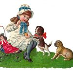 Little Girl, Doll & Puppies