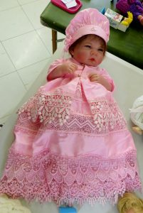 Gorgeous 'baby doll' Comp entry crafted by clever Valerie Pike