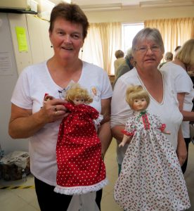 Elaine & Pam with their finished Topsy-Turvy dolls!